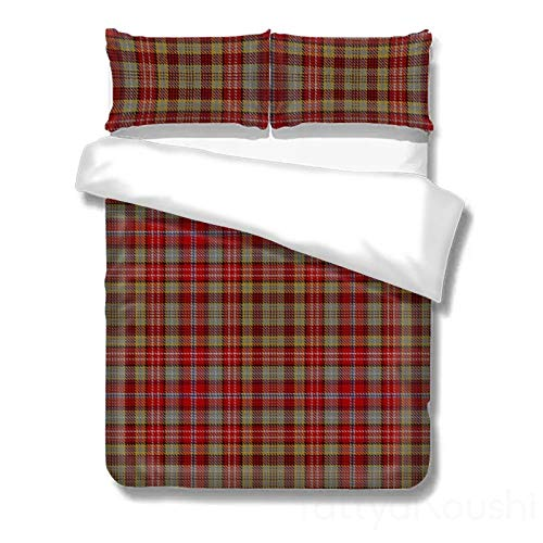 onepicebest Plaid Duvet Covers Twin Size 3 Piece Set, Scottish Clan Ogilvie Ogilvy Tartan Bedding Comforter Cover With 2 Pillow Shams