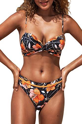 CUPSHE Damen Bikini Set Push Up Crossover Bikini Bademode Blumenmuster Zweiteiliger Badeanzug Swimsuit Schwarz M