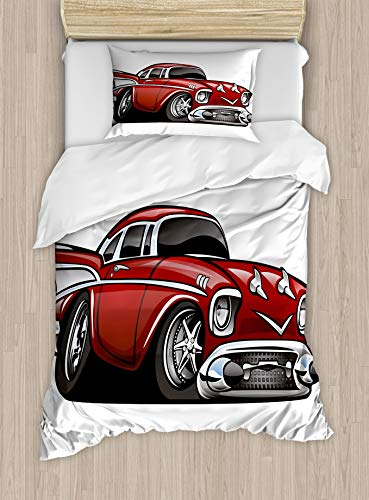 HUNKKY Nursery Duvet Cover Set, Classic Vintage American Muscle Car Old Fashion Famous Graphic Print, Decorative 2 Piece Bedding Set with 1 Pillow Sham, Twin Size, Grey Ruby