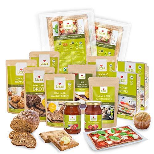 Lizza Low Carb Set   Bis zu 94% weniger Kohlenhydrate   Keto, Atkins & Diabetikerfreundlich   Bio. Glutenfrei. Vegan.   Brot, Pizza, Tomatensauce, Toasties, süße Backmischung