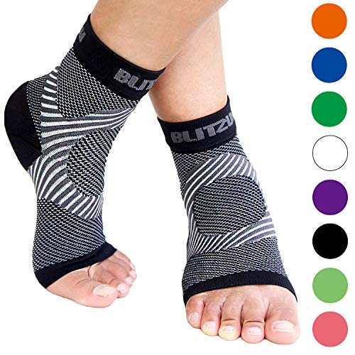 BLITZU Plantar Fasciitis Compression Socks For Women & Men - Best Ankle and Nano Sleeve For Everyday Use - Provides Foot & Arch Support. Heel Pain, and Achilles Tendonitis Relief. BLACK L/XL