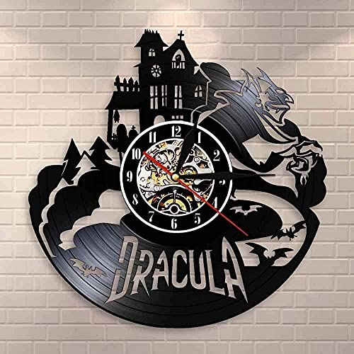 zgfeng Castillo Colgante de Pared Halloween Arte de Halloween Reloj de Pared decoración del hogar Vinilo Retro Reloj de Pared Artista decoración del hogar-con LED