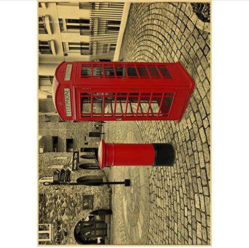 Wanghuan Vintage London Red Bus Poster Retro Paisaje Cabina de autobús Big Ben Wall Art Poster decoración del hogar 50x70cm A-202