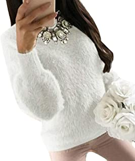 Womens Casual Knit Pullover Round Neck Fluffy Jumper Sweaters