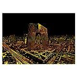NYWENY Postales de arte de pintura arco iris, edificios vista nocturna, arte de rascar para niños y adultos, arte conjunto de manualidades con palo de dibujo