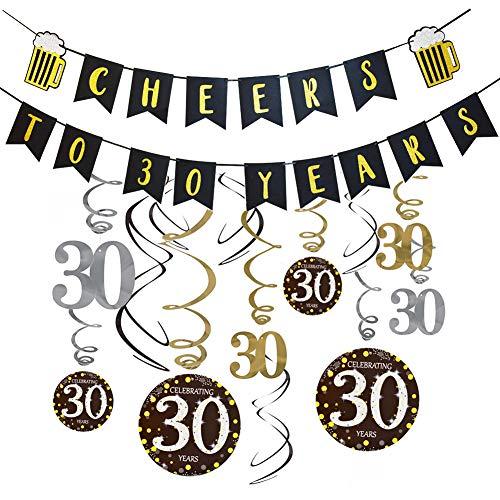 30th Birthday Party Decorations Kit-Cheers to 30 Years Banner, 30th Birthday&Anniversary Hanging Swirl Decorations for 30 Years Old Birthday Party Supplies 30th Wedding Anniversary Decorations