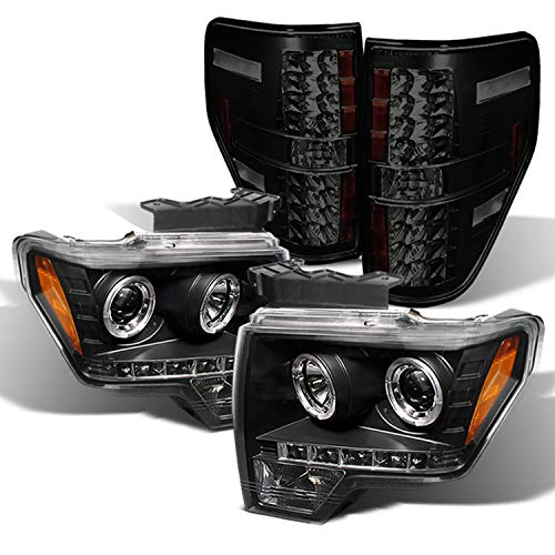 For Ford F150 F-150 Pickup Black Bezel Dual Halo LED Projector Headlight+Black Smoked Tail Lamp