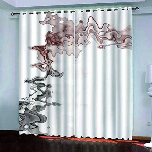 YUNSW 3D Fashion Graffiti Curtains, 2-Piece Perforated Curtains, Blackout Curtains For Garden Living Room Bedroom Garden
