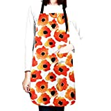 CUAJH Flowers Adjustable Bib Apron for Men Women Chef, Waterproof with 2 Pockets Cooking Kitchen Apron for Thanksgiving Christmas, Watercolor Poppy Pattern