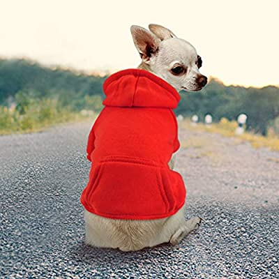 Idepet Dog Cat Hoodie Cotton Pet Coats Solid Color Clothing for Small Dogs Puppy Teddy Poodle Chihuahua (XS, Red)