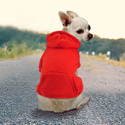 Idepet Haustier Kleidung Hundepullover Hunde Kleider welpen Pullover Hunde Warmer Mantel für Katzen Kleine Hunde Chihuahua Welpe Teddy Pudel (S, Rot)