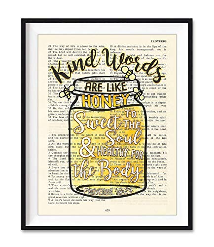 Kinds Words Are Like Honey, Sweet to the Soul, Proverbs 16:24, Christian Reproduction Art Print, Unframed, Vintage Bible Verse Scripture Wall and Home Decor Poster, Inspirational Gift, 5x7 Inches