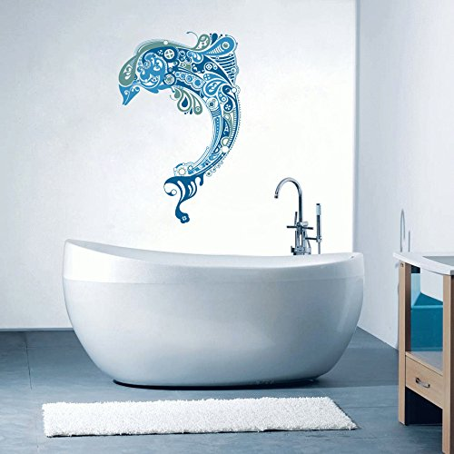 "Dolphin - Beautiful Sea Ocean Inspired Bathroom Wall Decal - 22"" x 14"""