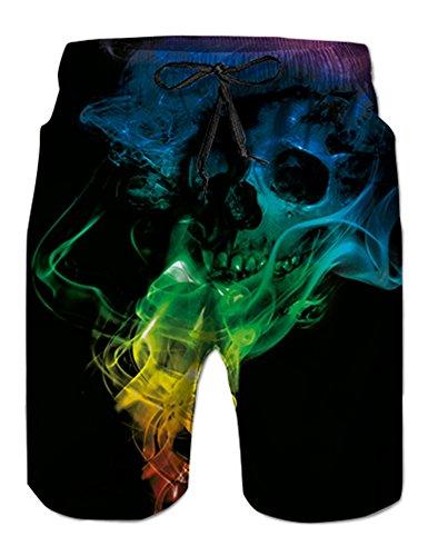 NEWISTAR Junge Shorts 3D Druck Kurze Hose Badehose Freizeithose Jogginghose Sporthose Trainingshose Jogger Sweatpants L Skull