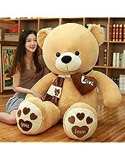 AMIRA TOYS ぬいぐるみ 特大 くま 可愛い熊 動物 大きい くまぬいぐるみ 抱き枕 お祝い ふわふわ (ライトブラウン, 140cm)