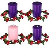 4 Candele Pilastro dell'Avvento di Natale Candele Pilastro Votive Rotonde Profumate Antigoccia, 4 Pezzi Corona di Portacandele di Bacca Candela Rossa di Natale Anelli di Bacca per Casa Decorazioni
