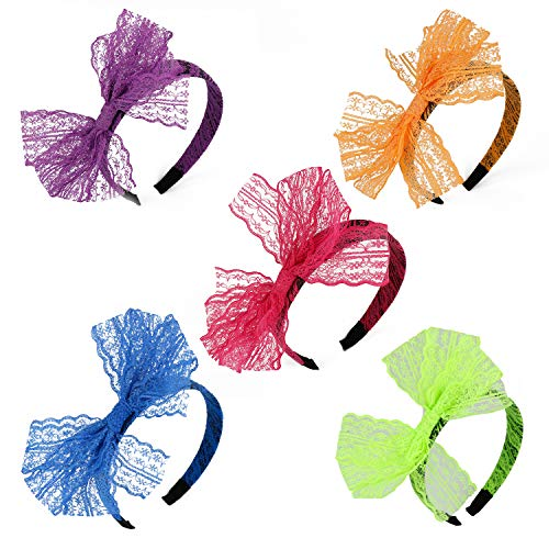WBCBEC 5 Pieces 80's Lace Headband Costume Accessories for 80s Theme Party, No Headache Neon Lace Bow Headband