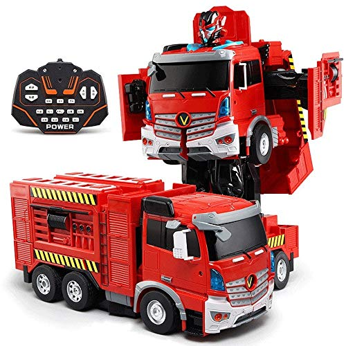 New Woote Child RC Vehicle, Remote Control Fire Truck Toy, Deformation Car Robot with Charging Chine...