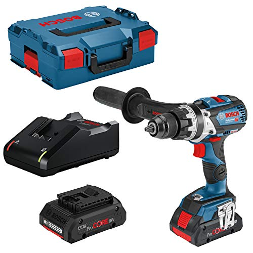 Bosch Professional - Taladro percutor inalámbrico con sistema de 18V GSB 18V-110 C (par máximo 110 Nm, incluye batería ProCore de 2x4,0 Ah, cargador GAL 18V-40, en L-BOXX)