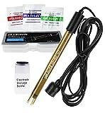 Electrodo de pH combinado de alta precisión para monitoreo continuo del pH, sonda de pH 0-14 con cable de conector BNC de 200 cm de largo y kit de reemplazo de polvo de calibración
