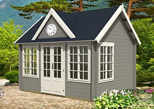 Alpholz Gartenhaus Clockhouse-70 Royal aus Massiv-Holz | Gerätehaus mit 70 mm Wandstärke | Garten Holzhaus inklusive Montagematerial | Geräteschuppen Größe: 420 x 320 cm | Satteldach
