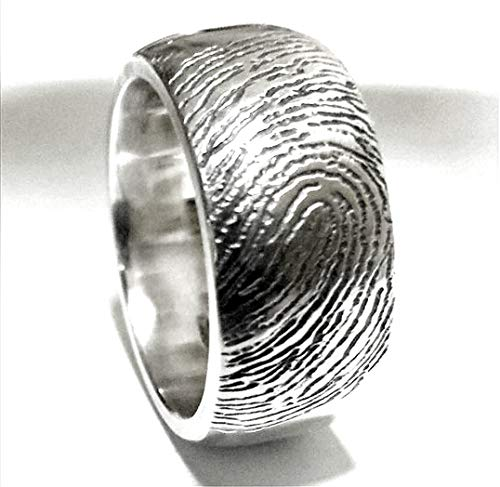 Sterling silver personalized fingerprint ring, promise ring, friends ring, memorial ring, best friend ring, in memorial ring.