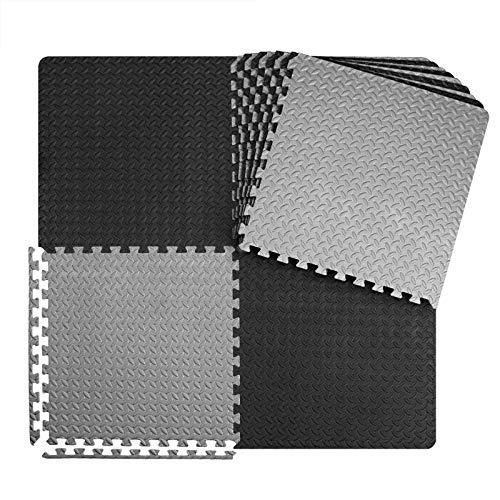 innhom 12 Tiles, 46 SQ. FT Gym Mat Exercise Mat Puzzle Foam Mats Gym Flooring Mat Interlocking Foam Mats with EVA Foam Floor Tiles for Gym Equipment Workout Mat, Black and Gray