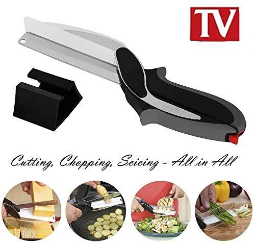Cortador inteligente 2 en 1 Tijeras y cuchillo multifuncionales, tabla de cortar Versátil diseño ergonómico Cocina Cortadora de vegetales Picadora