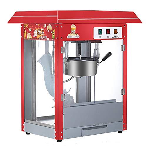 YANG Professionelle Popcornmaschine für gewerbliche und Private Zwecke, Kino Event Party Rotes Dach (1400 W, ca. 6 kg/h, Edelstahl, Teflonbeschichtung, 50 * 36 * 70 cm)