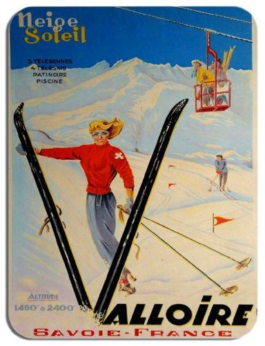 Poster di viaggio vintage francese del mouse Savoie France Skiing annuncio mouse pad da sci