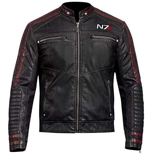 N7 Mass Effect 3 Classic Moto Style Lederjacke -  Schwarz -  XX-Small