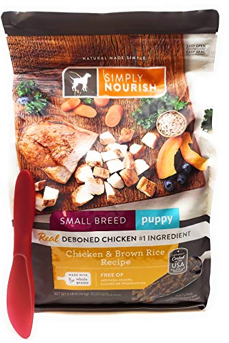 SIMPLY NOURISH Small Breed Puppy Dry Dog Food - Chicken & Brown Rice, 5 pounds and Especiales Cosas Mixing Spatula