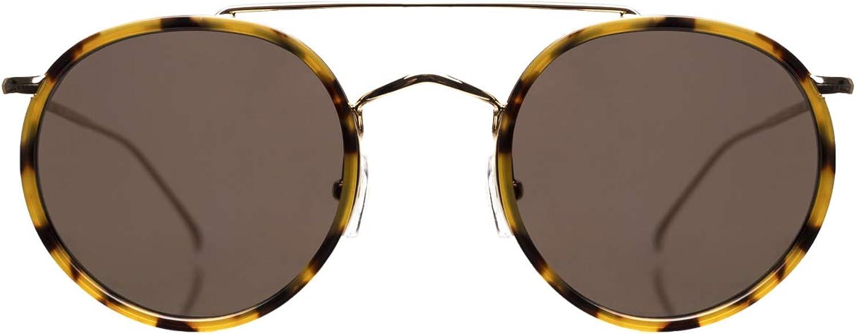 Illesteva Women's Allen Ace Sunglasses  Tortoise gold with Grey Flat Lenses