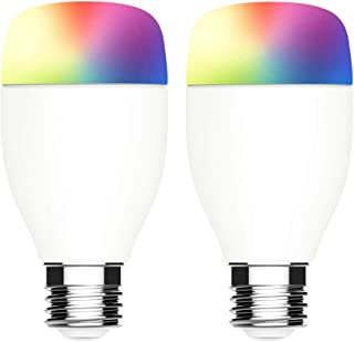 WiFi Smart Light Bulb,RGBW Color Changing Smart Bulbs Compatible with Alexa & Google Home, No Hub Required, LINGANZH 7W E26 Multicolor LED Bulb,2 Pack