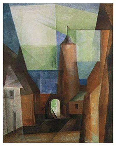 Art-Galerie Kunstdruck/Poster Lyonel Feininger - Der Grützturm in Treptow - 48 x 60cm - Premiumqualität - Klassische Moderne, Gebäude, Häuser, Büro, Flur, Treppenhaus - Made IN Germany SHOPde
