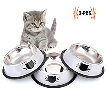 Legendog Gamelle Chat,3 Pcs Bol Chat en Gamelle Chat INOX Facile à Nettoyer - Antidérapant - Motif d'impression 3D Conçu pour Les Chats