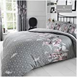 Gaveno Cavailia Luxurious <span class='highlight'>Feathers</span> Bed Set with Duvet Cover and Pillow Cases, Polyester-Cotton, Grey, King
