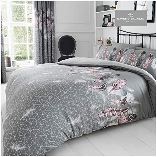 Gaveno Cavailia Luxurious Feathers Bed Set with Duvet Cover and Pillow Cases, Polyester-Cotton, Grey, Double