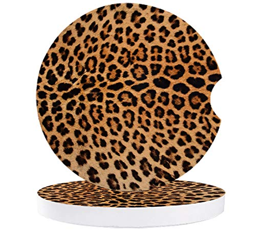 Car Cup Holder Coaster with Fingertip Grip, Ceramic Absorbent Cup Coaster for Drink, Leopard Print Decor Accessories Coaster for Car Living Room Kitchen Office 2-Piece Set