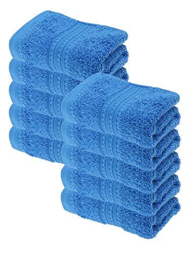 Julie Julsen Juego de 10 toallas de invitados (30 x 50 cm, 100% algodón, 550 g/m²), color azul