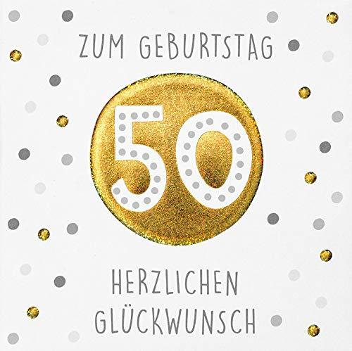 Geburtstagskarte zum 50. Geburtstag Black&Gold - Punkte - 15 x 15 cm