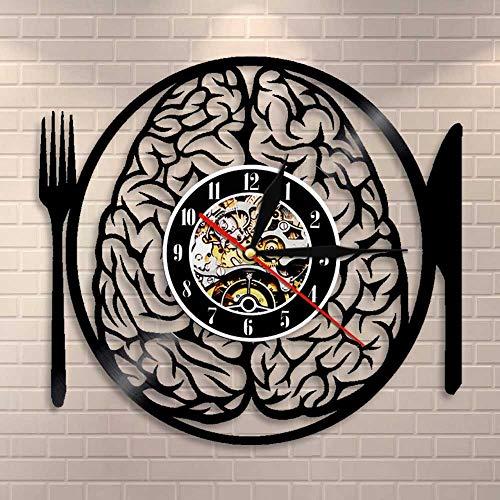 Usmnxo Don't Eat my Brain Art en la Pared y el Reloj en la vajilla Pared disección de neuronas Cerebro Disco de Vinilo neurociencia Enfermera Regalo con luz LED 12 Pulgadas (30 cm)