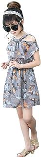 Yumiki ワンピース ガールズ 女の子 夏 半袖 肩出し 花柄 キッズ Aライン シフォン プリントかわいい カジュアル 可愛い 海 入園式 旅行 女の子 ビーチ リゾート トラベル