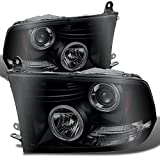 For Dodge Ram Pickup Truck Black Smoke Dual Halo Ring LED Projector Headlights Replacement Left + Right