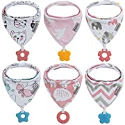 Baby Bandana Drool Bibs 6-Pack and Teething Toys 6-Pack Made with 100% Organic Cotton, Absorbent and Soft Unisex (Vuminbox) (6 - Pack Girl)