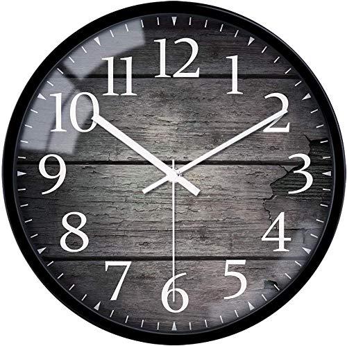 Reloj de pared silencioso sin garrapatas retro con números arábigos de 12 pulgadas, reloj de pared de cristal, funciona con pilas, reloj de pared para