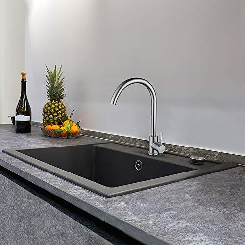 CECIPA 50cm * 45cm Edelstahl Küchenspüle Schwarz mit Schwenkbereich 360° Armatur, inklusive Seifenspender, Siphon, Ablauf- und Überlaufgarnitur, für Aufliegende und Flachbündige Montage