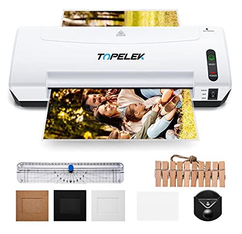 TOPELEK A4 Laminiergerät, 5 in 1Laminiergerät mit 30 Laminierbeuteln für A4 / A5 /, 400MM / Min Heiß und Kaltlaminiersystem, 2 Min Schnelles Aufheizen, Weiß