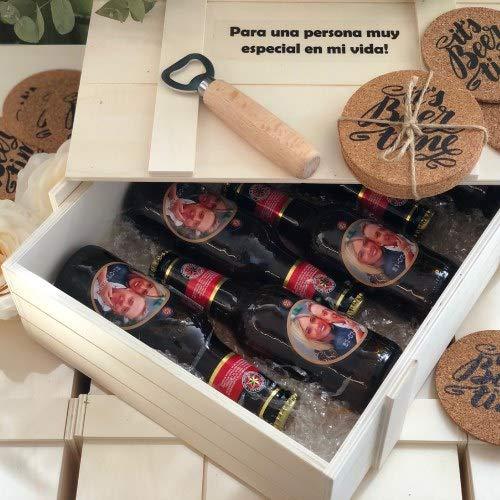 Cervezas para regalar con 6 posavasos, abrebotellas y caja de madera, 6 botellines de cerveza con foto para regalar, eventos, bodas, cumpleaños, aniversario, día de la madre, Uvimark