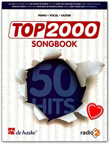 Top 2000 Songbook - 50 Tophits in einem Buch für Gesang mit Begleitungen für Klavier und Gitarre (mit Akkorddiagrammen) - Notenbuch mit mit bunter herzförmiger Notenklammer